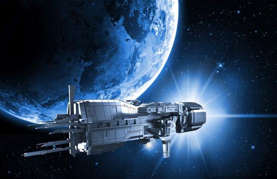 A spaceship flies near a habitable planet.