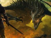 An armored knight stands before a roaring dragon, surrounded by flame.