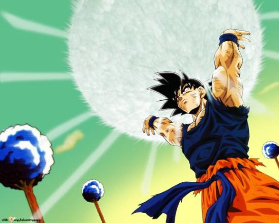 Goku from DBZ charging his spirit bomb.