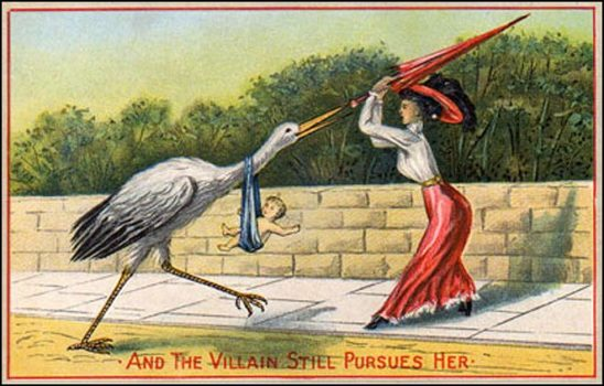 An old postcard of a woman battling a giant stork.