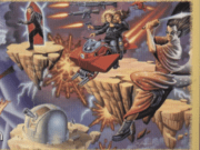 Part of a GM screen from Mage: The Ascension. It shows, among other things, a mage levitating multiple guns in the air.