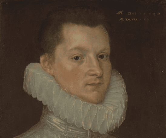A painting of a man wearing an Elizabethan Ruff.