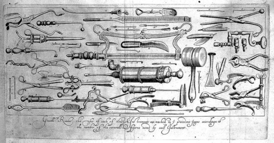 16th century surgical instruments.