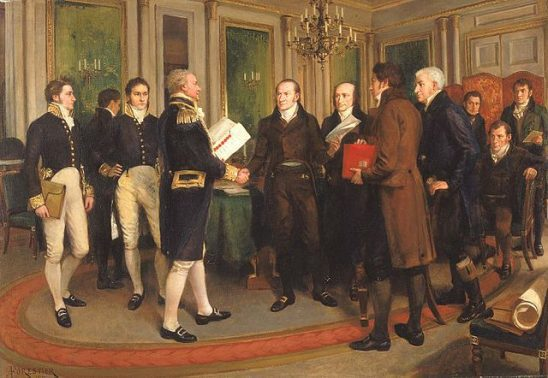 Diplomats signing the treaty of Ghent.