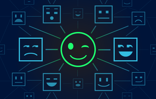 A round green winky face in the center of a network of blue square faces.