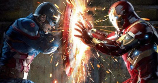 Captain America using his shield to deflect Iron Man's blast.