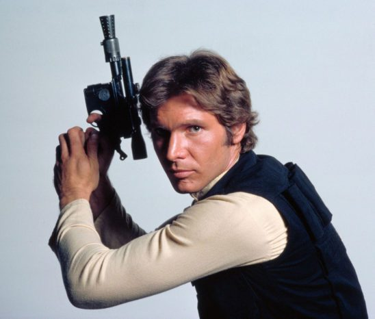 Han Solo with his blaster.
