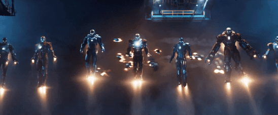 Stark's suits lined up from Iron Man 3.