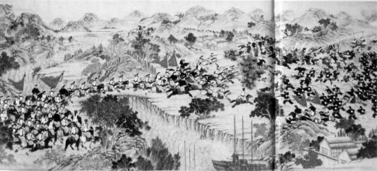 A black and white painting of soldiers in the warring states.