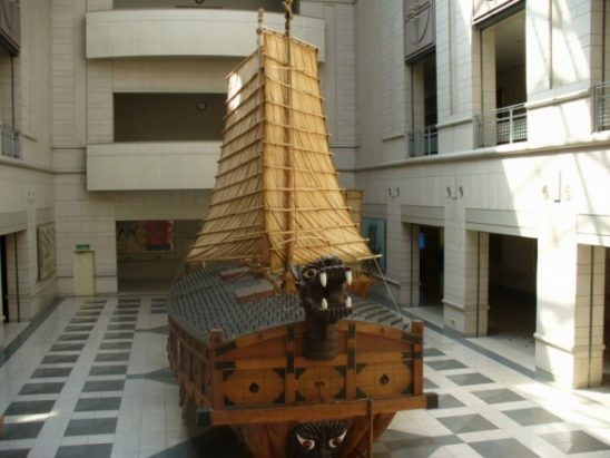 A Korean turtle ship in a museum.