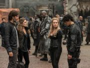 Abby, Marcus, and Clarke stare at a shame-faced Bellamy in the 100