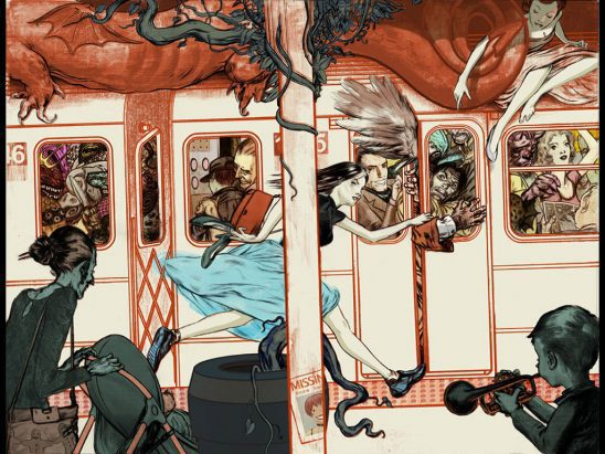 A collection of mythical characters trying to board a subway car.