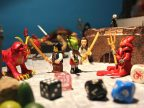A lego battle between multiple scifi characters.