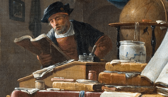 A classical painting of a man working on a book.