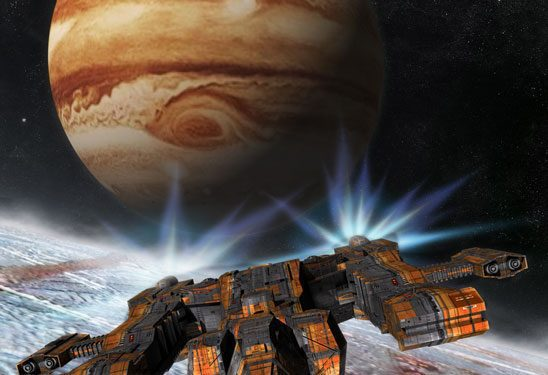 A spaceship flies over a moon near Jupiter