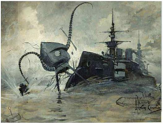 Cover art from War of the Worlds, showing a British warship ramming a Martian tripod.