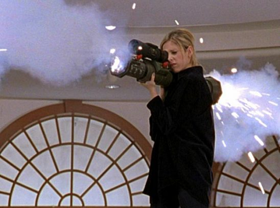 Buffy with a rocket launcher.