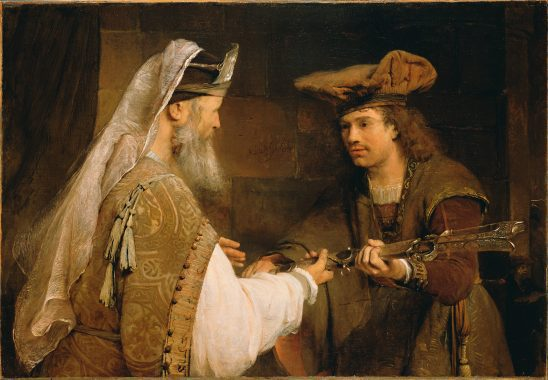 An old man giving a sword to a young man.