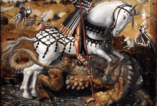 A 1500s painting of a knight killing a dragon.