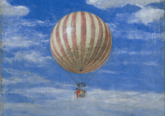 A painting of a hot air balloon.
