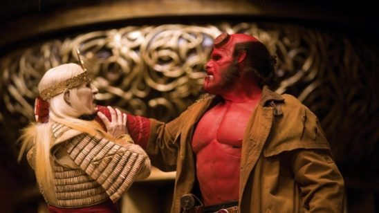 Hellboy choking the villain from Hellboy II.