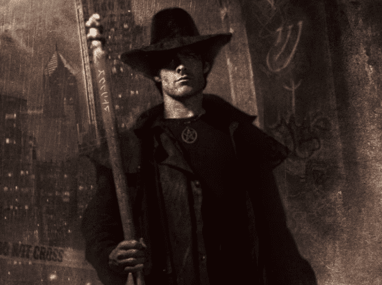 Harry Dresden from Storm Front's cover art.