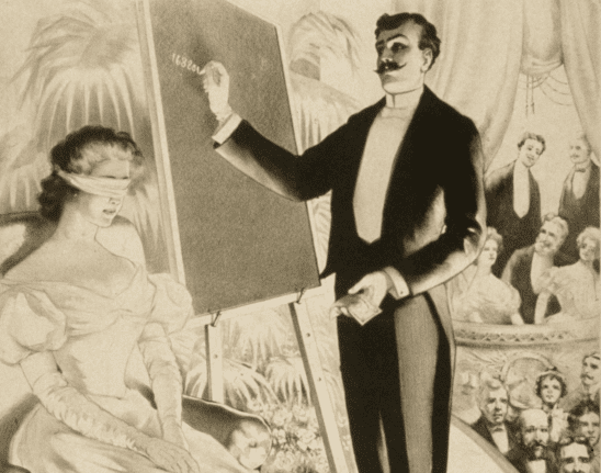An old illustration of a magician reading a woman's mind.