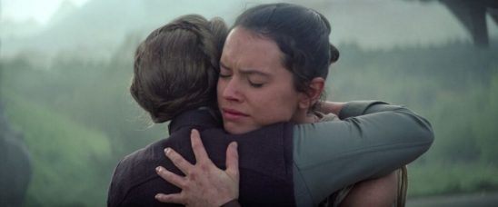 Rey and Leia hugging.