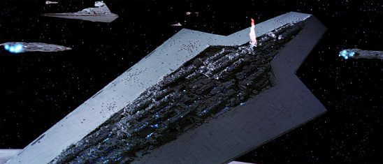 The super star destroyer with its bridge on fire.