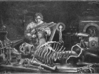 An old illustration of Victor Frankenstein working on his monster.