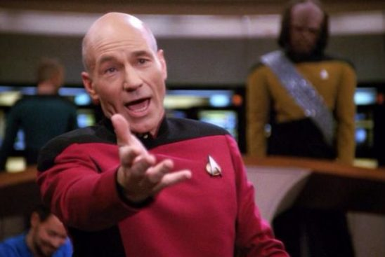 Picard making an over the top dramatic gesture.