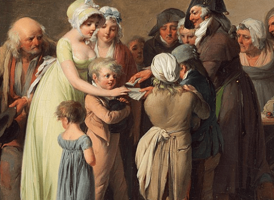 A classical painting of a street magician handing out cards.