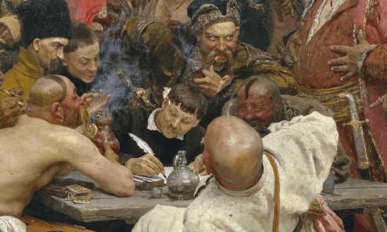 A man attempting to write in the midst of a boisterous party, from the classical painting Reply of the Zaporozhian Cossacks.
