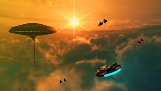 The Millennium Falcon approaching Cloud City.
