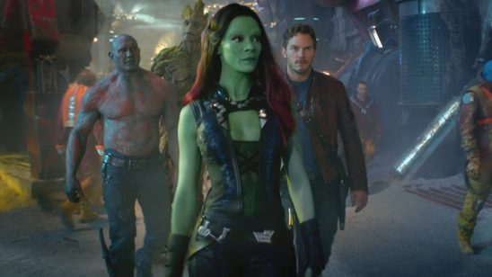 Gamora, Starlord, Drax, and Groot from Guardians of the Galaxy.