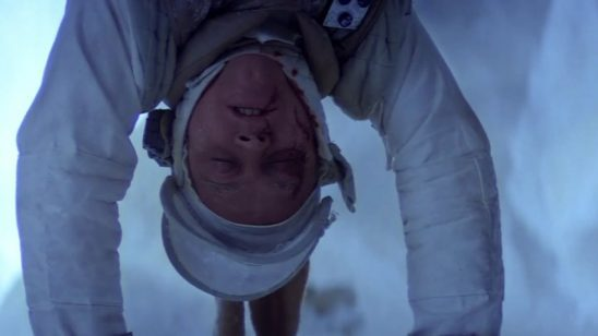 Luke hanging upside down in the Wampa's Cave.