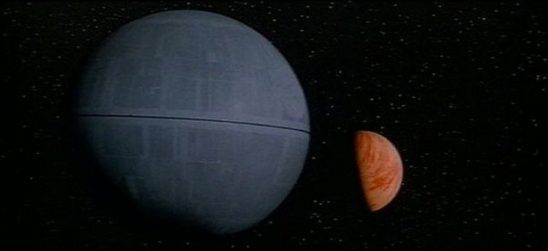 The Death Star approaching the planet Yavin.
