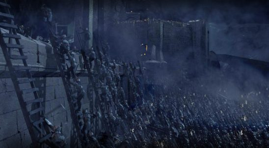 Orcs scaling the wall of Helms Deep