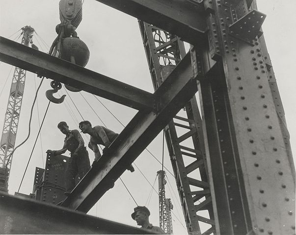 Workers building the Empire State Building.