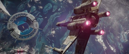 X-Wings diving toward the Scarif shield gate in Rogue One
