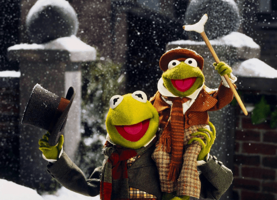 Tiny Tim and Bob Cratchit from the Muppet Christmas Carol.