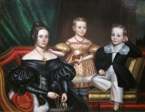 An old painting of a mother and her two children.