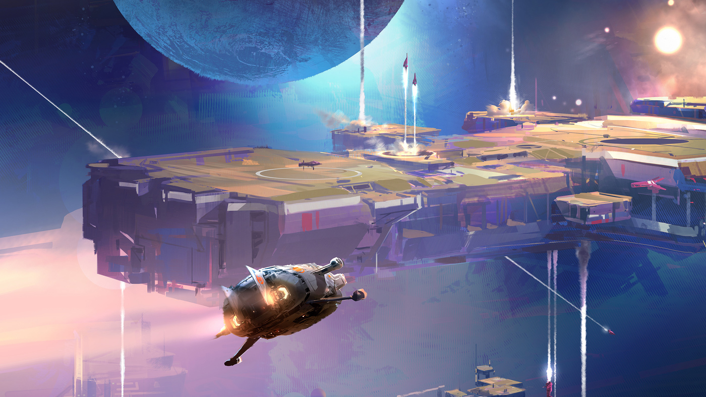 Cover Art of The Collapsing Empire, showing a shuttle moving in to dock at a large space station.