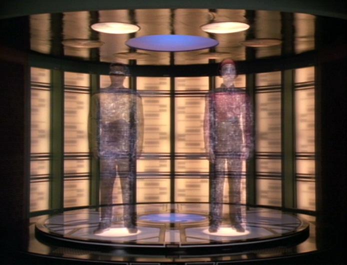 Geordi and Ro transporting in Star Trek: The Next Generation