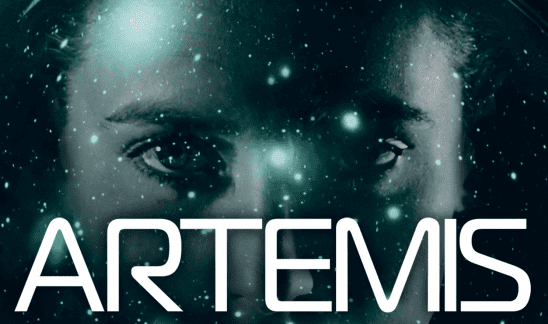 Cover art for Artemis, showing the protagonist's face.