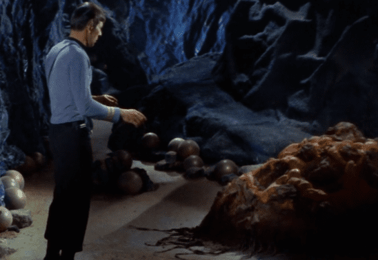 Spock examining the horta from TOS' The Devil in the Dark.
