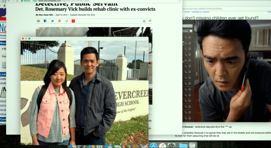 A laptop screen with multiple tabs open, including an image of John Cho and his daughter.