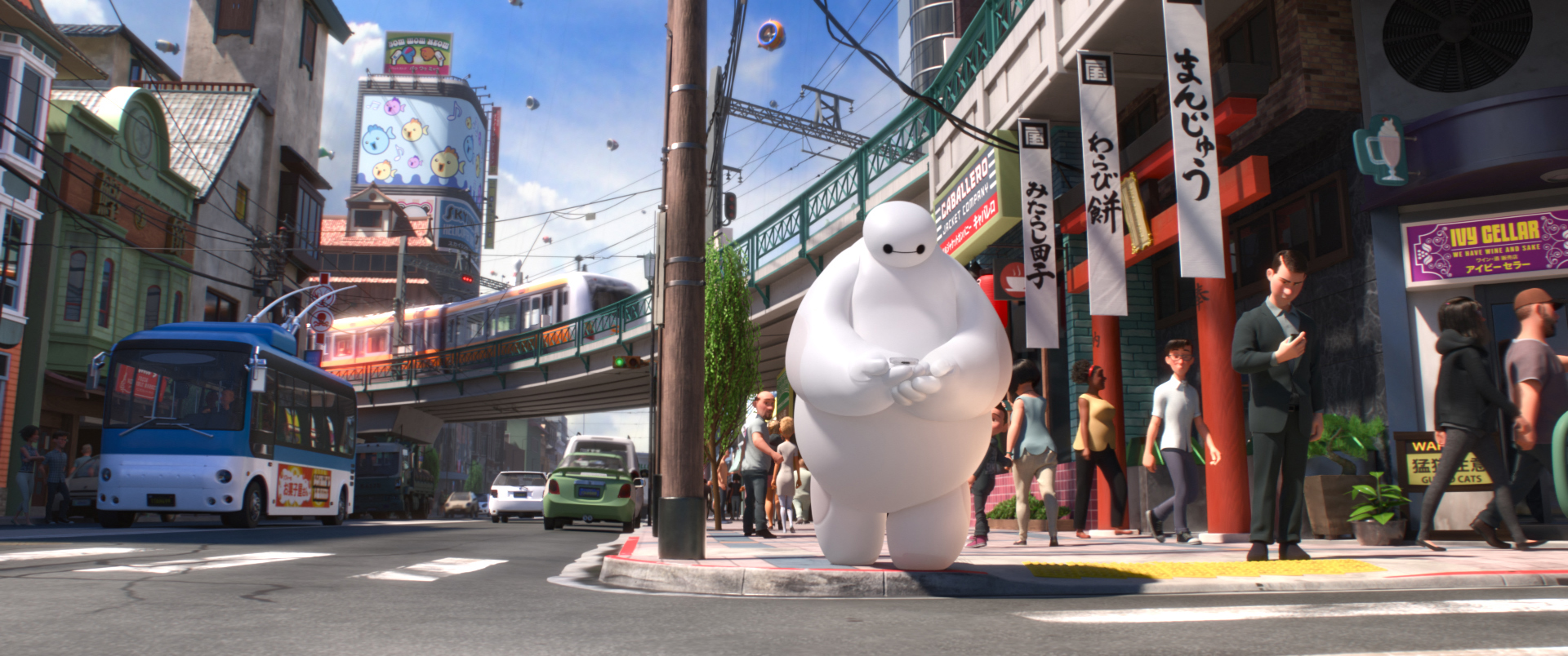 The fluffy robot from Big Hero Six crossing the street.