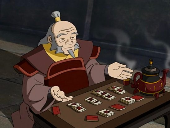 Uncle Iroh playing a card game.