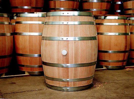 A group of wooden barrels.